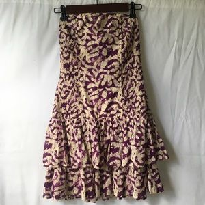Moda Int Floral Purple Cream Strapless Dress XS